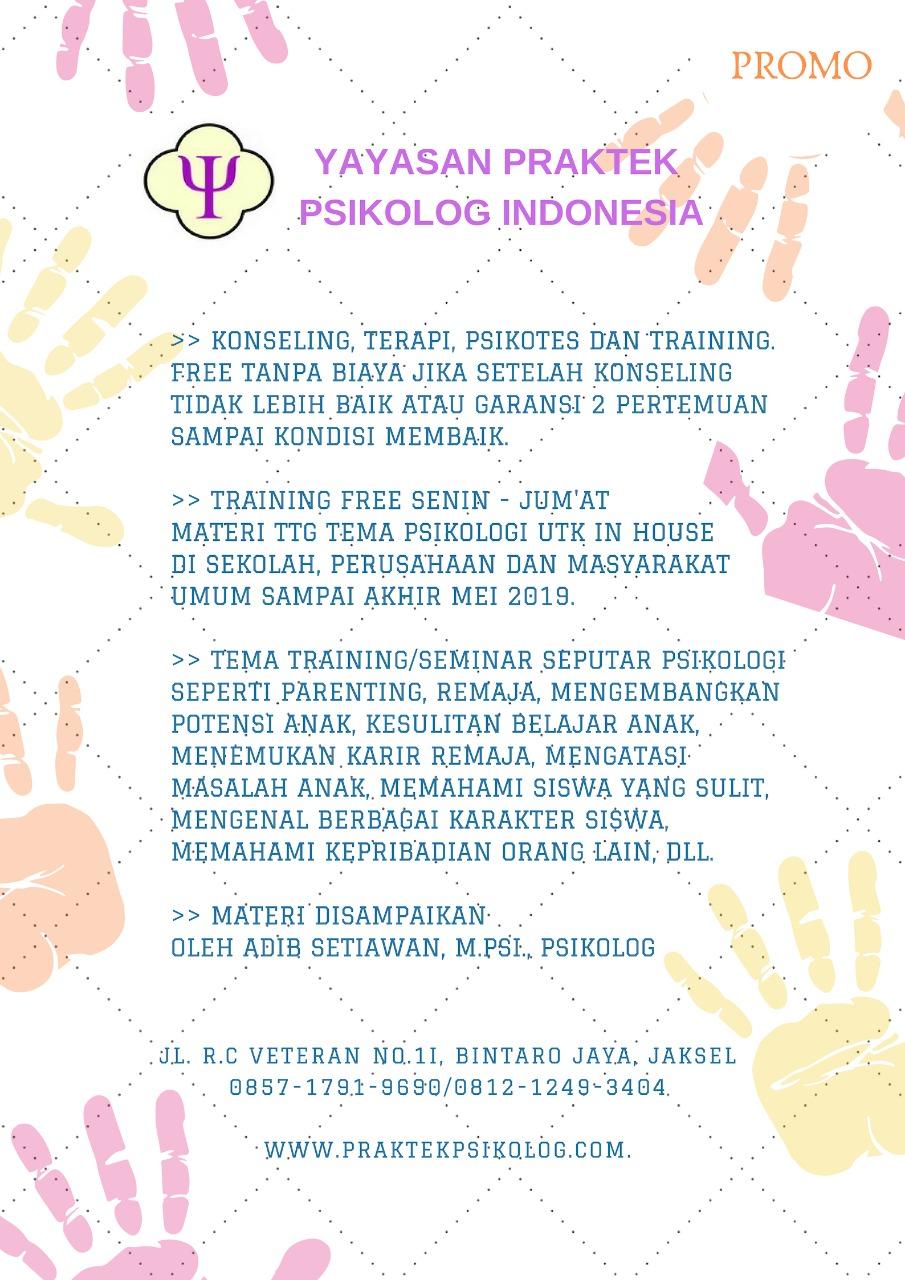 Training gratis tema-tema psikologi untuk sekolah, perusahaan, dan masyarakat umum